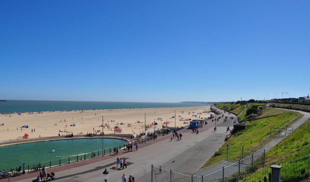 The sea-front at Gorleston-on-Sea during the summer months